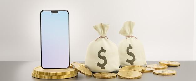 Tela em branco do smartphone móvel com bolsa de dinheiro e moeda de ouro. imagem para o conceito de negócio financeiro. imagem de renderização de ilustração 3d.