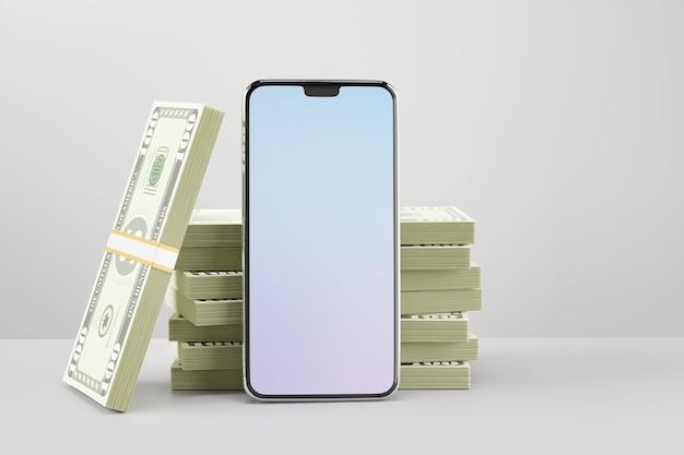 Tela em branco móvel do smartphone com uma pilha de dinheiro de notas. imagem de renderização de ilustração 3d.