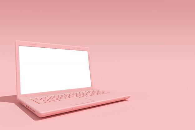 Tela vazia de laptop rosa no conceito criativo rosa, mínimo, renderização em 3d