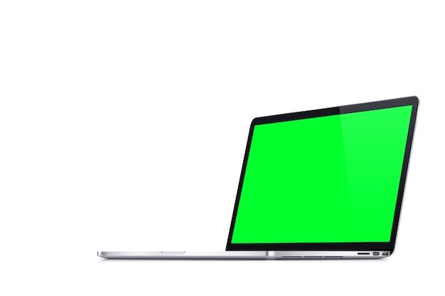 Tela verde do caderno sobre fundo branco. chave de croma.