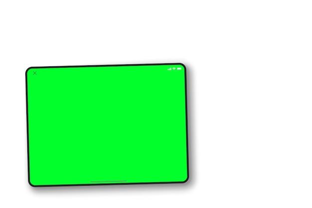 Tela verde do tablet em fundo branco. vista do topo. chave de croma.