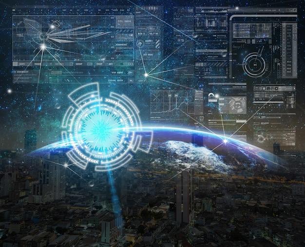 Tela virtual digital de tecnologia com a conexão de rede em parte da terra