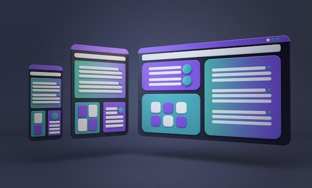 Telas de renderização 3d de desenho animado conceito responsivo