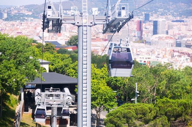 Teleférico de montjuic em barcelona, espanha