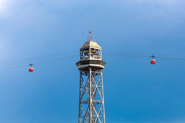 Teleférico para a montanha montjuic em barcelona