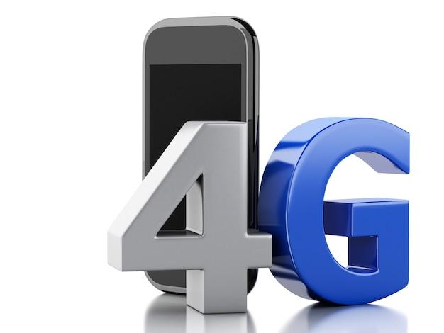 Telefone 3d esperto com sinal sem fio do lte 4g. conceito de tecnologia