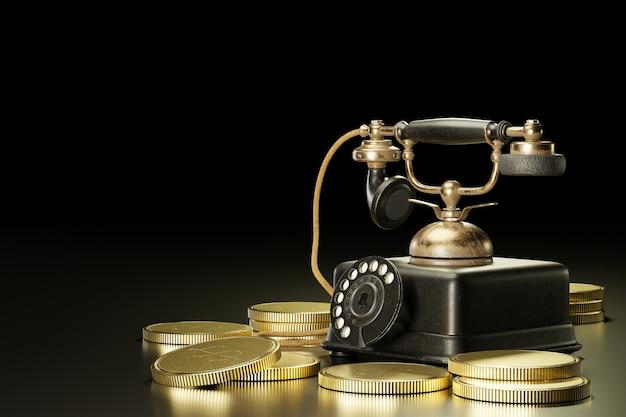 Telefone antigo colocado em cima de moedas de ouro empilhadas em um fundo preto escuro. ilustração 3d.