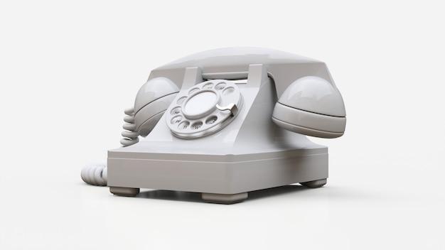 Telefone antigo com discagem branca. renderização em 3d.
