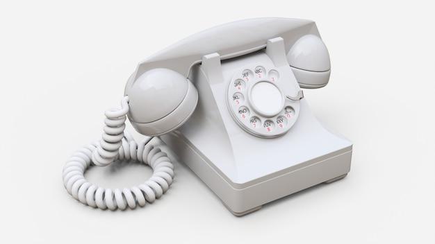 Telefone antigo com discagem branca