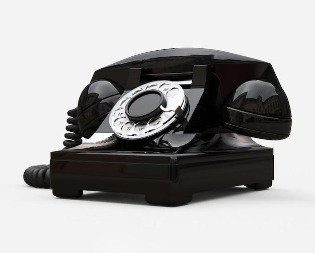 Telefone antigo com discagem preta. ilustração 3d