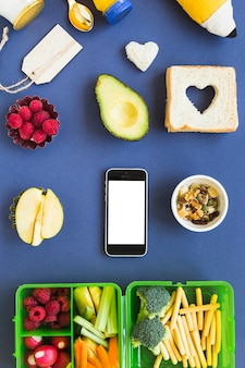 Telefone, ao redor, refeição, conceito