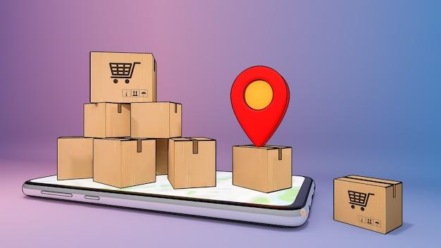 Telefone celular com muitas caixas de papel e ponteiros de pinos vermelhos., serviço de transporte de pedidos de aplicativos móveis online