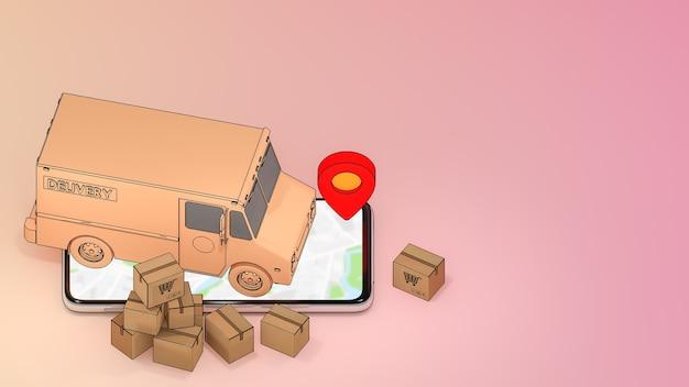 Telefone celular e caminhão van com muitas caixas de papel e ponteiros de pinos vermelhos., serviço de transporte de pedidos de aplicativos móveis online e compras online e conceito de entrega.