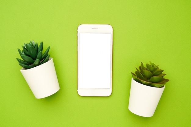Telefone celular e pequenas plantas suculentas em uma composição simples, verde e mínima