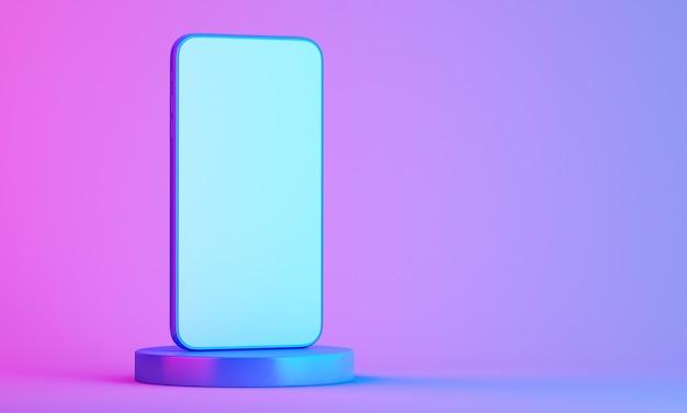 Telefone celular na maquete do produto com fundo colorido, fundo de ilustração de renderização 3d
