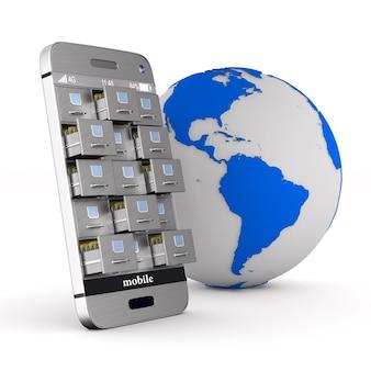 Telefone com arquivo e globo isolado