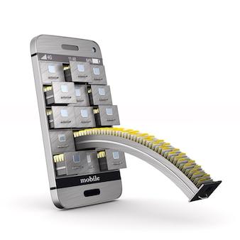 Telefone com arquivo. isolado, renderização 3d