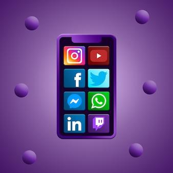Telefone com ícones de mídia social