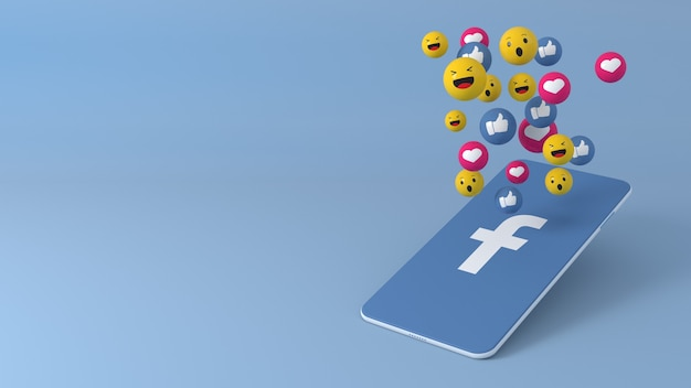 Telefone com ícones pop-up do facebook