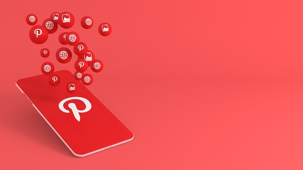 Telefone com ícones pop-up do pinterest