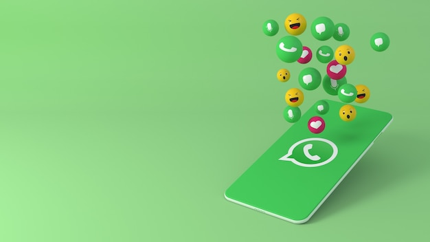 Telefone com ícones pop-up do whatsapp