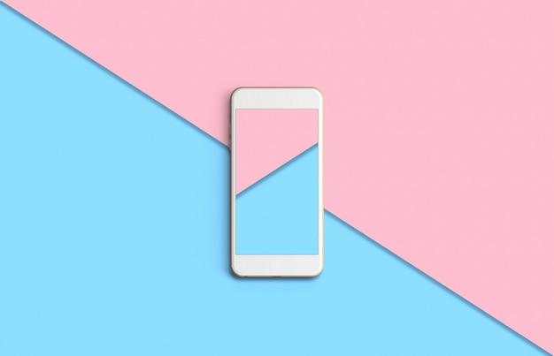 Telefone com tela colorida no fundo da vista superior em tons pastel