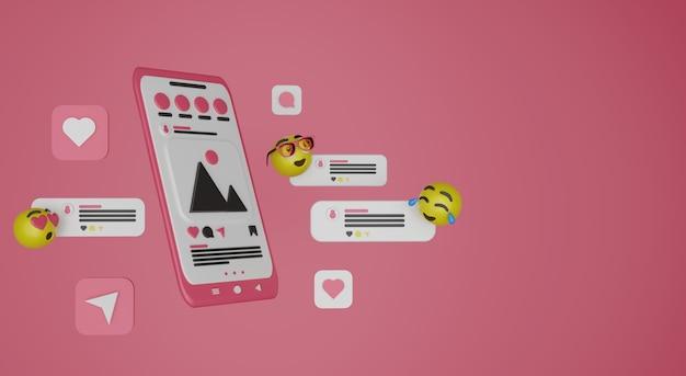 Telefone de desenho animado de mídia social e renderização 3d de emoji premium photo