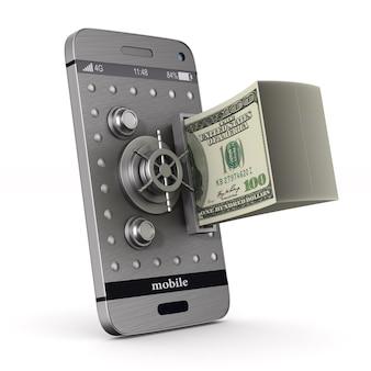 Telefone de proteção e dinheiro no espaço em branco