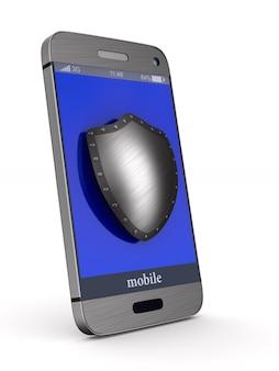 Telefone de proteção na superfície branca. ilustração 3d isolada.