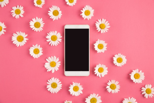 Telefone de tela preta em camomila floral fundo rosa pastel