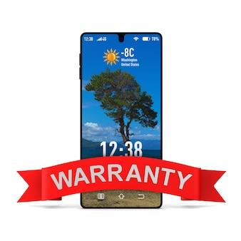 Telefone e fita vermelha com garantia de texto. renderização 3d isolada
