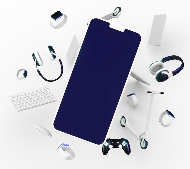 Telefone e fones de ouvido para cyber segunda-feira