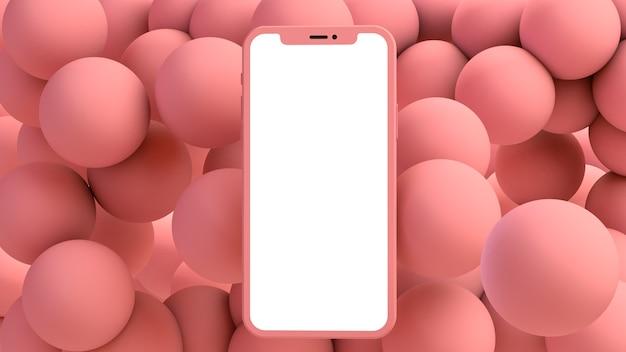 Telefone em um fundo de bolas rosa renderização 3d
