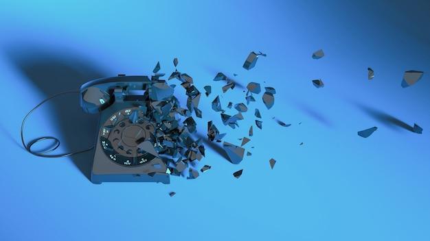 Telefone fixo com iluminação neon azul caindo em partes pequenas, ilustração 3d