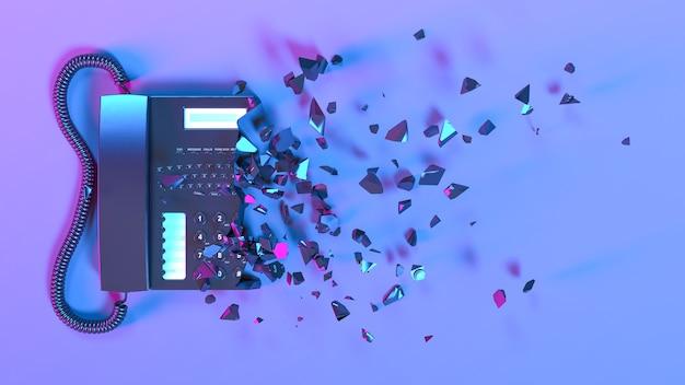 Telefone fixo com iluminação neon roxa caindo em partes pequenas, ilustração 3d