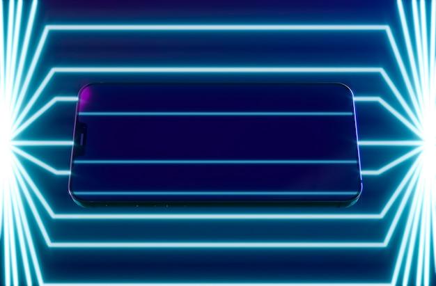 Telefone moderno com luz neon
