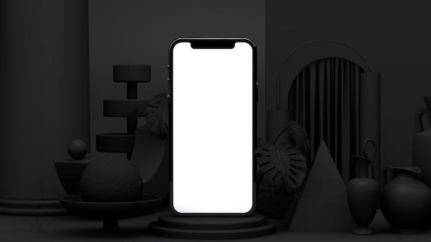 Telefone móvel com tela em branco no carrinho. apresentação de aplicativo