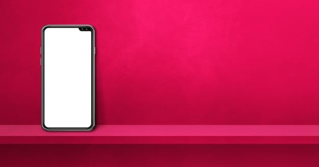 Telefone móvel na prateleira de parede rosa. banner de plano de fundo horizontal. ilustração 3d
