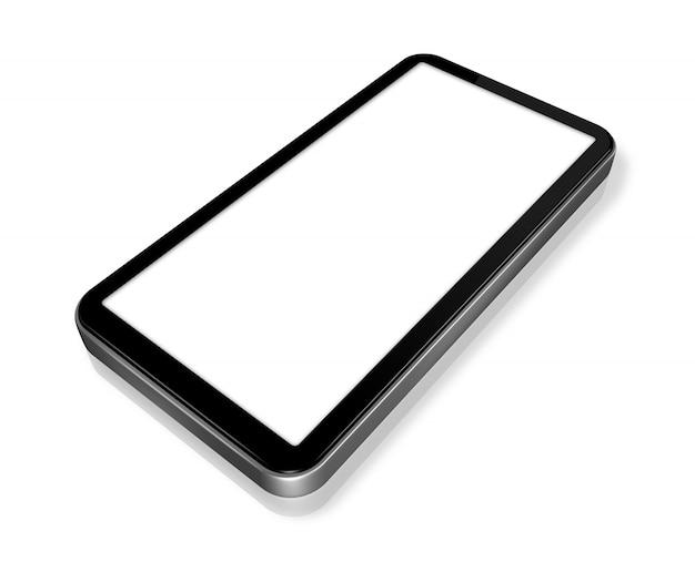 Telefone móvel tridimensional isolado no branco
