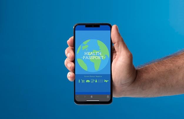Telefone na mão com passaporte secreto na tela com fundo azul roupas cinza