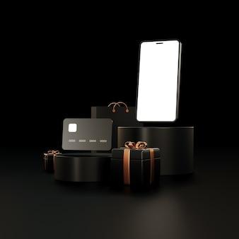 Telefone preto com um cartão preto e presentes com modelos de elementos dourados para banners e recalma