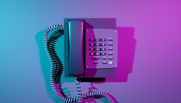 Telefone residencial em close-up com iluminação ultravioleta, ilustração 3d