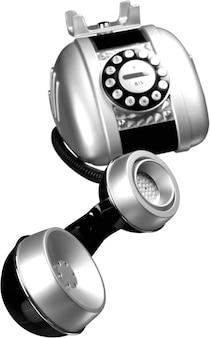 Telefone retro prateado em fundo branco
