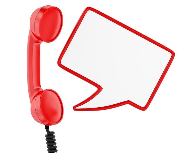 Telefone vermelho e balão em branco. conceito de comunicação. fundo branco isolado.