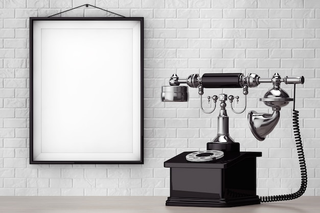 Telefone vintage em frente à parede de tijolos com moldura em branco closeup extrema