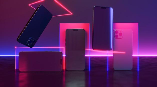 Telefones com arranjo de luz neon