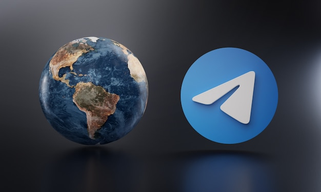 Telegrama logo beside earth 3d rendering.
