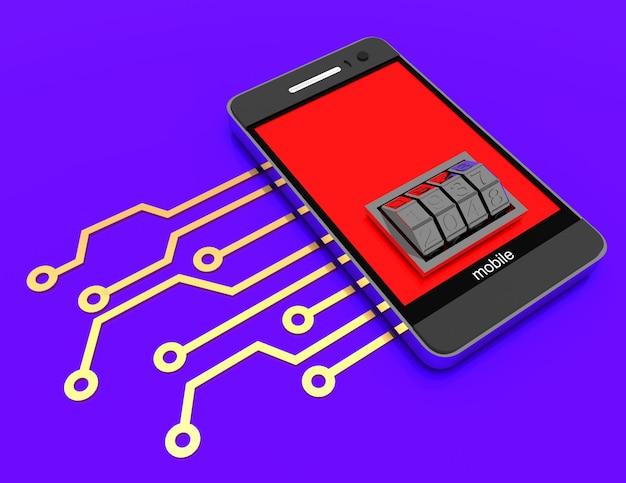 Telemóvel com circuito electrónico e botão de bloqueio. ilustração renderizada 3d