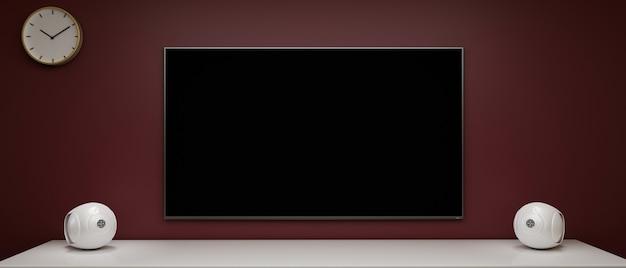 Televisão ampla com tela preta isolada em uma parede elegante e alto-falantes em renderização 3d de home theater