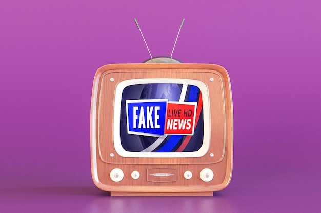 Televisão com notícias falsas